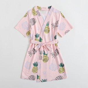 Халат с поясом и принтом ананаса для девочек SHEIN. Цвет: нежний розовый