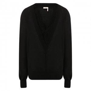 Пуловер из смеси шерсти и шелка Chloé. Цвет: чёрный