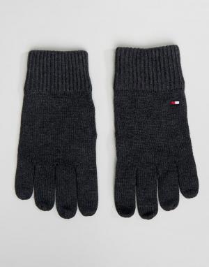 Темно-серые меланжевые перчатки на основе хлопка пима Tommy Hilfiger. Цвет: серый