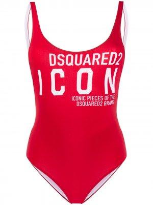Слитный купальник с логотипом Dsquared2. Цвет: красный