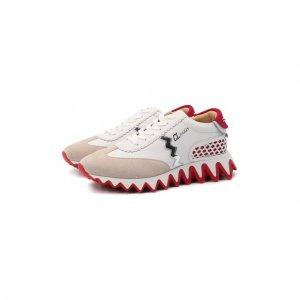 Кожаные кроссовки Loubishark Donna Christian Louboutin. Цвет: бежевый