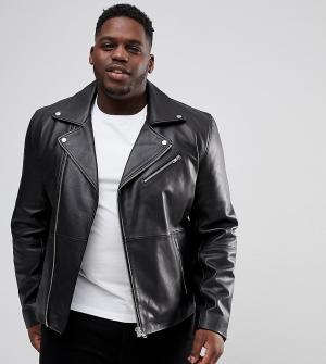 Черная кожаная байкерская куртка Plus ASOS DESIGN