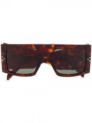 Солнцезащитные очки черепаховой расцветки Celine Eyewear. Цвет: коричневый