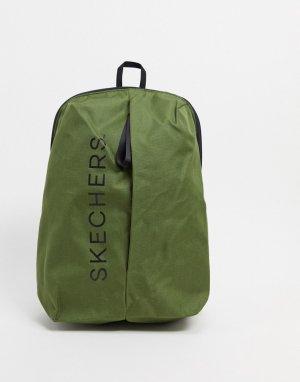 Оливковый рюкзак на молнии с логотипом -Зеленый Skechers