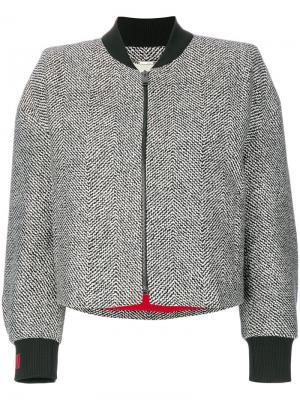 Твидовая куртка-бомбер с бисерной отделкой Fendi. Цвет: серый