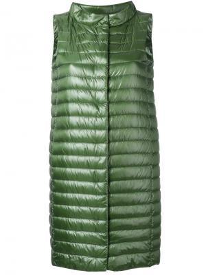 Удлиненная куртка-бомбер Herno. Цвет: зелёный