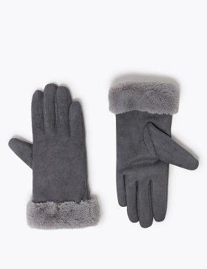 Перчатки из искусственной овчины M&S Collection. Цвет: уголь