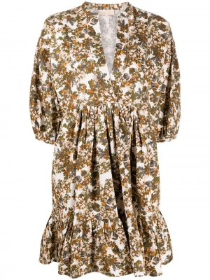 Платье мини с цветочным принтом byTiMo. Цвет: белый