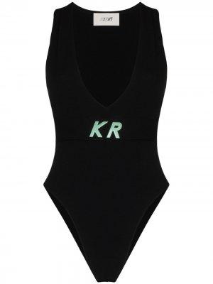 Трикотажное боди с логотипом Kirin. Цвет: черный