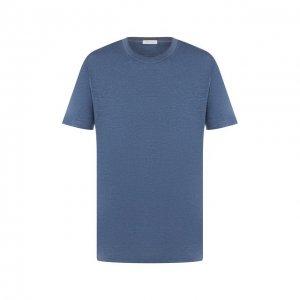 Льняная футболка Cortigiani. Цвет: синий