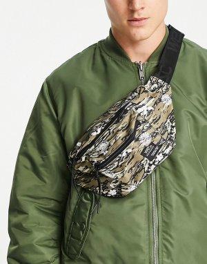 Сумка-кошелек на пояс с камуфляжно-тигровым принтом -Серый WESC