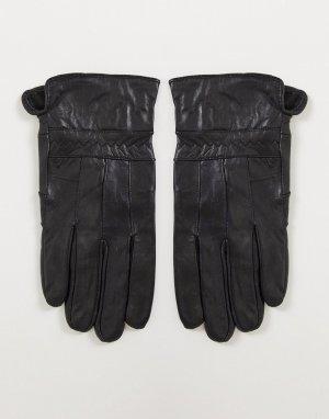 Кожаные перчатки в стиле пэчворк -Черный цвет Boardmans