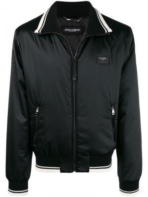 Куртка-бомбер с логотипом Dolce & Gabbana. Цвет: черный