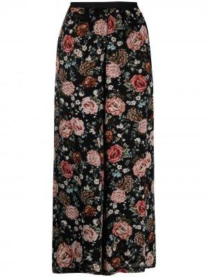 Широкие брюки с цветочным принтом Antonio Marras. Цвет: черный