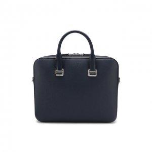 Кожаная сумка для ноутбука Dunhill. Цвет: синий
