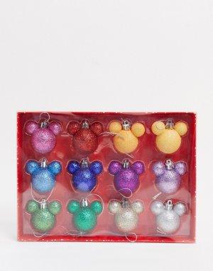Набор из 12 новогодних игрушек Микки и Минни Маус-Мульти Disney