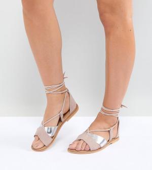 Замшевые сандалии для широкой стопы ASOS FOLLOW YOU DESIGN. Цвет: мульти
