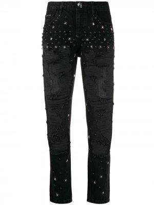 Декорированные джинсы бойфренды Philipp Plein. Цвет: черный