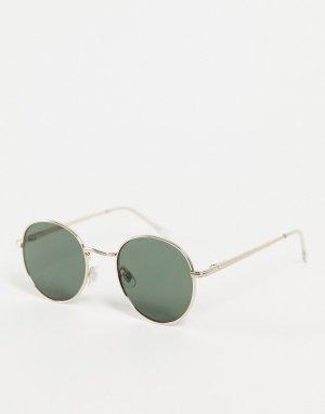 Солнцезащитные очки в круглой золотистой оправе стиле унисекс -Золотистый AJ Morgan