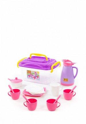 Набор игровой Wader Детская посуда Алиса на 4 персоны (в контейнере). Цвет: разноцветный