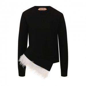 Хлопковый пуловер N21. Цвет: чёрный