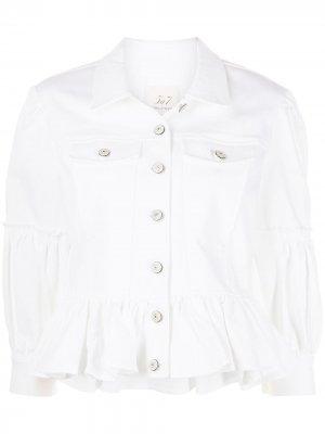 Укороченная джинсовая куртка с баской Cinq A Sept. Цвет: белый