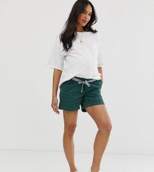 Хлопковые шорты для беременных с лентой Mamalicious-Зеленый Mama.licious