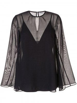 Блузка с прозрачными рукавами широкого кроя CAMILLA AND MARC. Цвет: синий