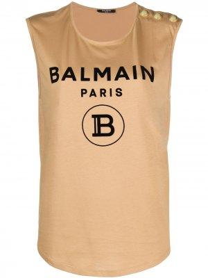 Logo detail tank top Balmain. Цвет: нейтральные цвета