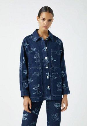 Куртка джинсовая Pull&Bear LOONEY TUNES. Цвет: синий