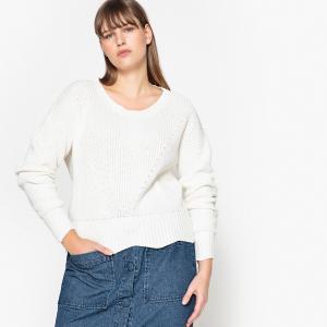 Пуловер вязаный с круглым вырезом из 100% хлопка CASTALUNA. Цвет: синий морской,экрю