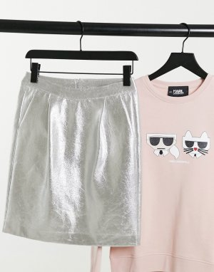 Серебристая блестящая мини-юбка -Серебряный Karl Lagerfeld
