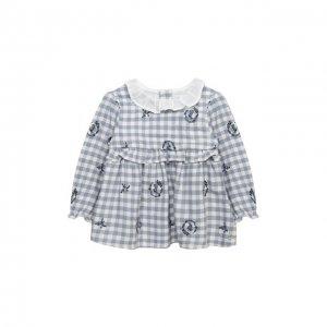 Хлопковая блузка Tartine Et Chocolat. Цвет: синий