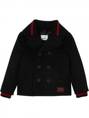Пальто со съемным воротником Burberry Kids. Цвет: черный