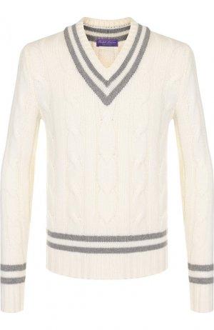 Кашемировый пуловер фактурной вязки Ralph Lauren. Цвет: белый