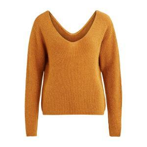Пуловер с V-образным вырезом спереди и сзади VILA. Цвет: ореховый,серый меланж