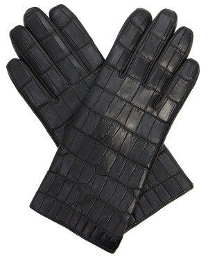 Перчатки из кожи крокодила SERAPHIN. Цвет: черный