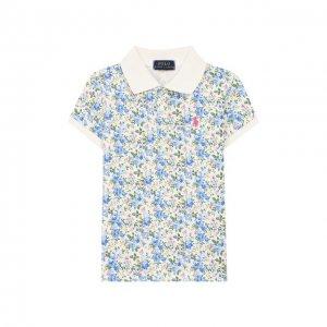 Хлопковое поло Polo Ralph Lauren. Цвет: разноцветный
