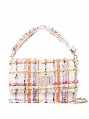 Твидовая сумка-тоут с бахромой Furla. Цвет: белый