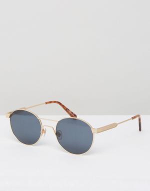 Круглые солнцезащитные очки в золотистой оправе Han Kjobenhavn. Цвет: золотой