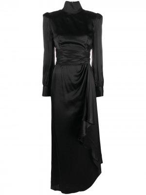 Платье асимметричного кроя со сборками Alessandra Rich. Цвет: черный