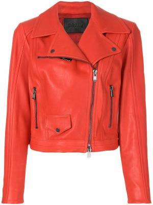 Кожаная байкерская куртка Drome. Цвет: красный