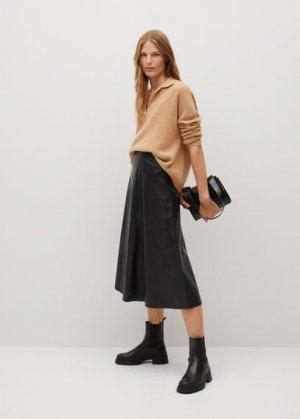 Кожаная юбка с кокеткой - Vuelo Mango. Цвет: черный