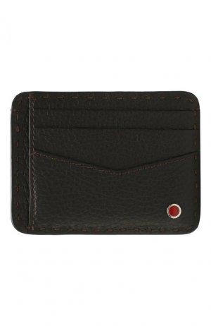 Кожаный футляр для кредитных карт Kiton. Цвет: коричневый