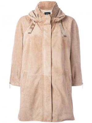 Кожаная куртка с капюшоном Arma. Цвет: телесный