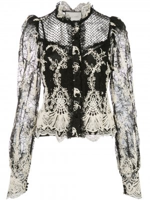 Блузка с кружевом Alexis. Цвет: черный