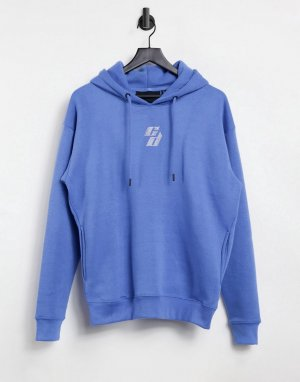 Худи синего цвета в стиле oversized с логотипом из стразов -Голубой Criminal Damage