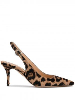 Туфли-лодочки с заостренным носком и леопардовым принтом Charlotte Olympia. Цвет: нейтральные цвета