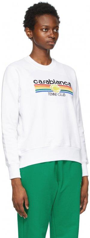 White Vintage Tennis Stripe Sweatshirt Casablanca. Цвет: white