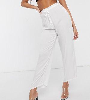 Эксклюзивные пляжные брюки белого цвета с завязкой на талии -Белый Akasa